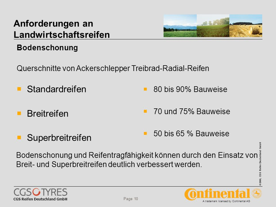 CGS Reifen Deutschland GmbH © 2005, CGS Reifen Deutschland GmbH A trademark licensed by Continental AG Page 10 Anforderungen an Landwirtschaftsreifen  Standardreifen  Breitreifen  Superbreitreifen  80 bis 90% Bauweise  70 und 75% Bauweise  50 bis 65 % Bauweise Bodenschonung Querschnitte von Ackerschlepper Treibrad-Radial-Reifen Bodenschonung und Reifentragfähigkeit können durch den Einsatz von Breit- und Superbreitreifen deutlich verbessert werden.