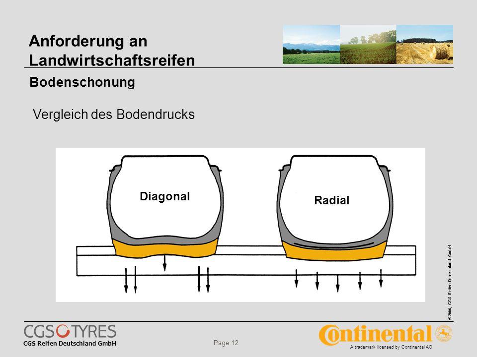 CGS Reifen Deutschland GmbH © 2005, CGS Reifen Deutschland GmbH A trademark licensed by Continental AG Page 12 Anforderung an Landwirtschaftsreifen Diagonal Radial Bodenschonung Vergleich des Bodendrucks