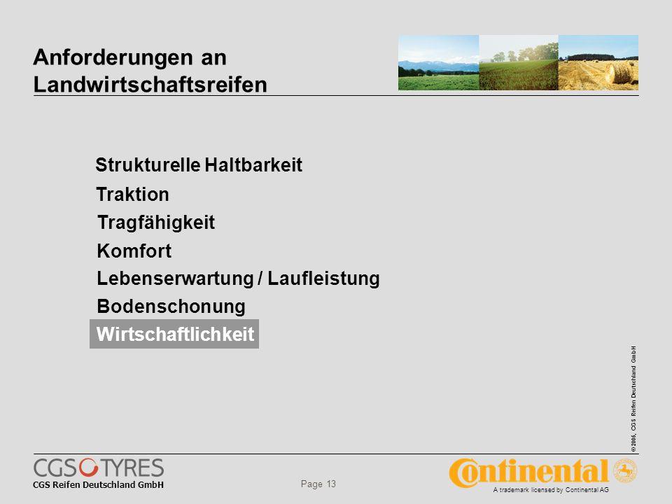 CGS Reifen Deutschland GmbH © 2005, CGS Reifen Deutschland GmbH A trademark licensed by Continental AG Page 13 Anforderungen an Landwirtschaftsreifen Strukturelle Haltbarkeit Tragfähigkeit Traktion Komfort Lebenserwartung / Laufleistung Bodenschonung Wirtschaftlichkeit