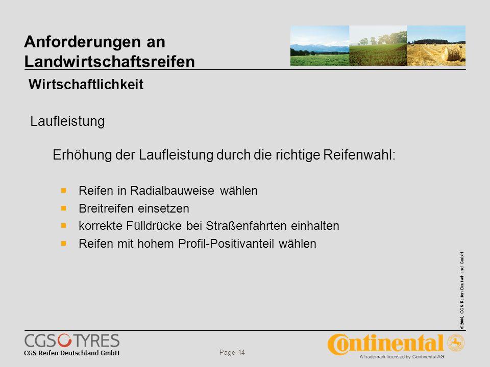 CGS Reifen Deutschland GmbH © 2005, CGS Reifen Deutschland GmbH A trademark licensed by Continental AG Page 14 Anforderungen an Landwirtschaftsreifen  Reifen in Radialbauweise wählen  Breitreifen einsetzen  korrekte Fülldrücke bei Straßenfahrten einhalten  Reifen mit hohem Profil-Positivanteil wählen Erhöhung der Laufleistung durch die richtige Reifenwahl: Wirtschaftlichkeit Laufleistung