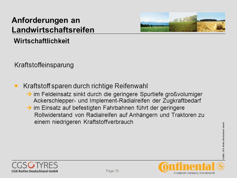 CGS Reifen Deutschland GmbH © 2005, CGS Reifen Deutschland GmbH A trademark licensed by Continental AG Page 15 Anforderungen an Landwirtschaftsreifen  Kraftstoff sparen durch richtige Reifenwahl  im Feldeinsatz sinkt durch die geringere Spurtiefe großvolumiger Ackerschlepper- und Implement-Radialreifen der Zugkraftbedarf  im Einsatz auf befestigten Fahrbahnen führt der geringere Rollwiderstand von Radialreifen auf Anhängern und Traktoren zu einem niedrigeren Kraftstoffverbrauch Wirtschaftlichkeit Kraftstoffeinsparung