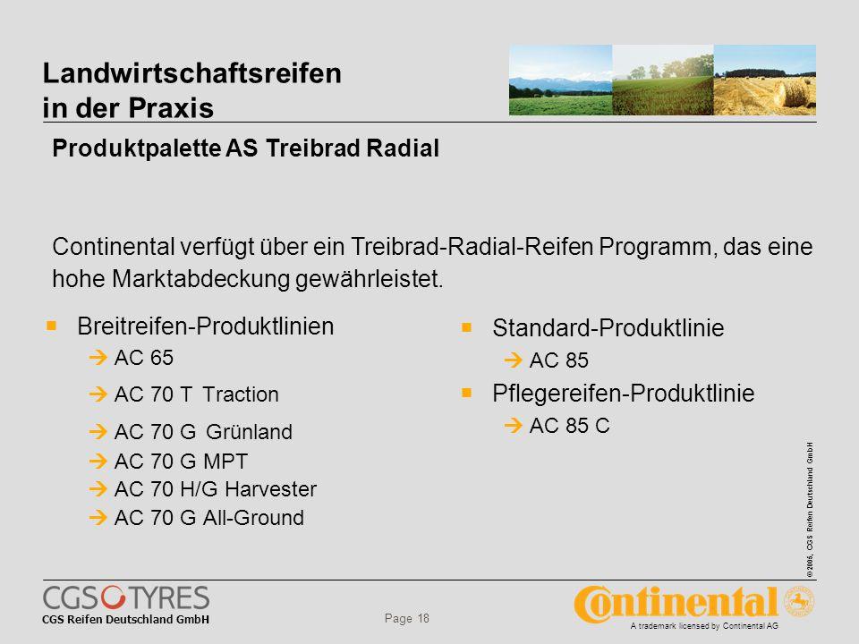 CGS Reifen Deutschland GmbH © 2005, CGS Reifen Deutschland GmbH A trademark licensed by Continental AG Page 18 Landwirtschaftsreifen in der Praxis  Breitreifen-Produktlinien  AC 65  AC 70 T Traction  AC 70 G Grünland  AC 70 G MPT  AC 70 H/G Harvester  AC 70 G All-Ground  Standard-Produktlinie  AC 85  Pflegereifen-Produktlinie  AC 85 C Continental verfügt über ein Treibrad-Radial-Reifen Programm, das eine hohe Marktabdeckung gewährleistet.