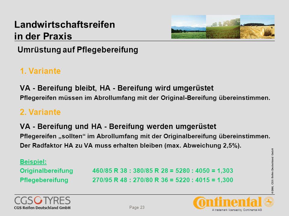 CGS Reifen Deutschland GmbH © 2005, CGS Reifen Deutschland GmbH A trademark licensed by Continental AG Page 23 VA - Bereifung bleibt, HA - Bereifung wird umgerüstet Pflegereifen müssen im Abrollumfang mit der Original-Bereifung übereinstimmen.