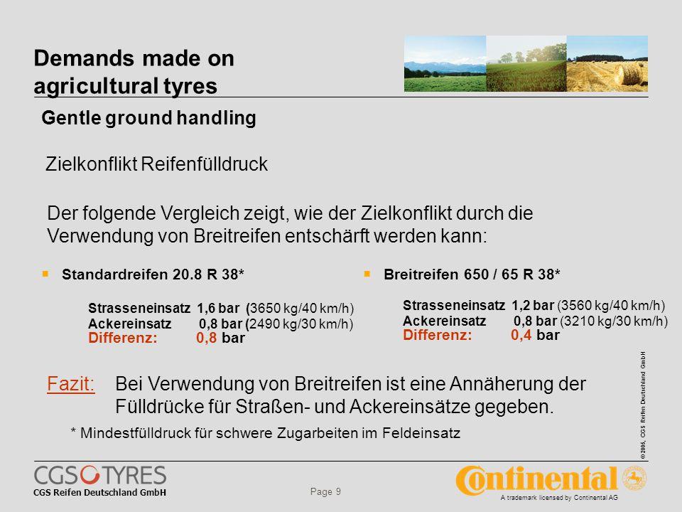 CGS Reifen Deutschland GmbH © 2005, CGS Reifen Deutschland GmbH A trademark licensed by Continental AG Page 9 Demands made on agricultural tyres  Standardreifen 20.8 R 38* Strasseneinsatz 1,6 bar (3650 kg/40 km/h) Ackereinsatz 0,8 bar (2490 kg/30 km/h) Differenz: 0,8 bar  Breitreifen 650 / 65 R 38* Strasseneinsatz 1,2 bar (3560 kg/40 km/h) Ackereinsatz 0,8 bar (3210 kg/30 km/h) Differenz: 0,4 bar Fazit: Bei Verwendung von Breitreifen ist eine Annäherung der Fülldrücke für Straßen- und Ackereinsätze gegeben.