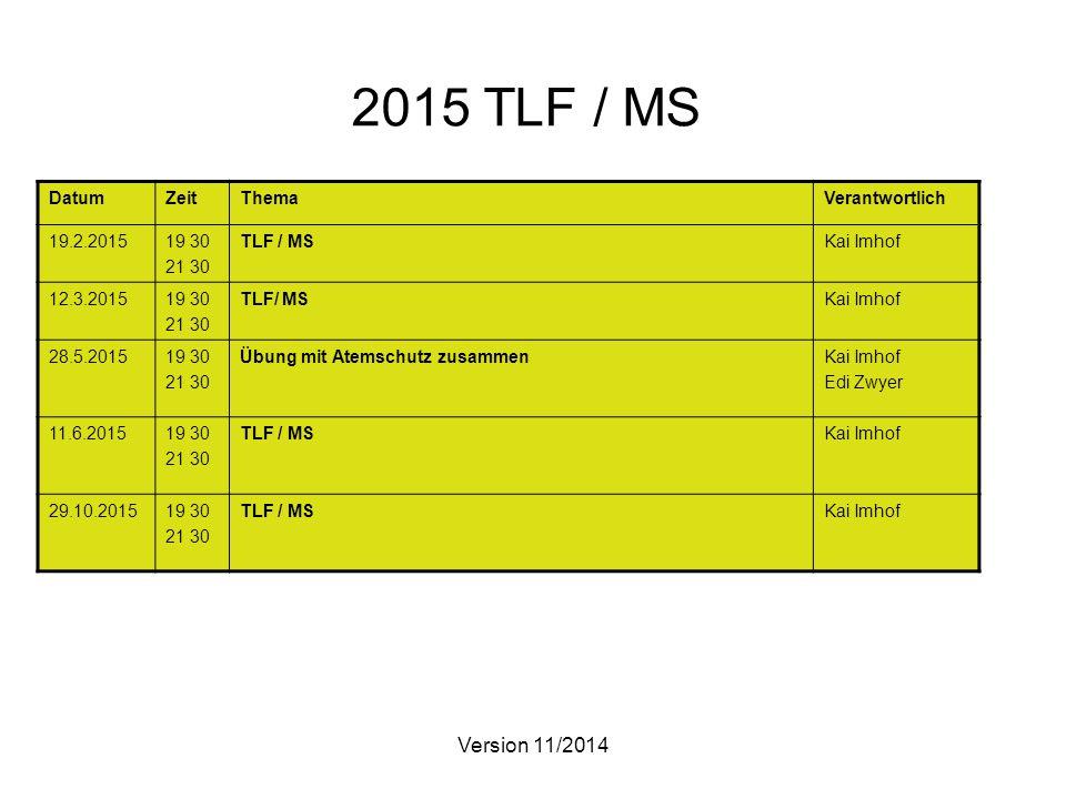 Version 11/2014 2015 TLF / MS DatumZeitThemaVerantwortlich 19.2.201519 30 21 30 TLF / MSKai Imhof 12.3.201519 30 21 30 TLF/ MSKai Imhof 28.5.201519 30 21 30 Übung mit Atemschutz zusammenKai Imhof Edi Zwyer 11.6.201519 30 21 30 TLF / MSKai Imhof 29.10.201519 30 21 30 TLF / MSKai Imhof
