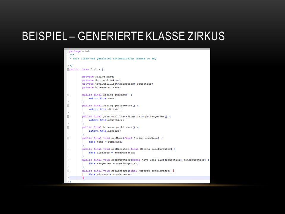 BEISPIEL – GENERIERTE KLASSE ZIRKUS