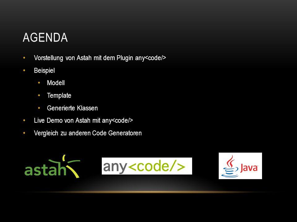 AGENDA Vorstellung von Astah mit dem Plugin any Beispiel Modell Template Generierte Klassen Live Demo von Astah mit any Vergleich zu anderen Code Generatoren