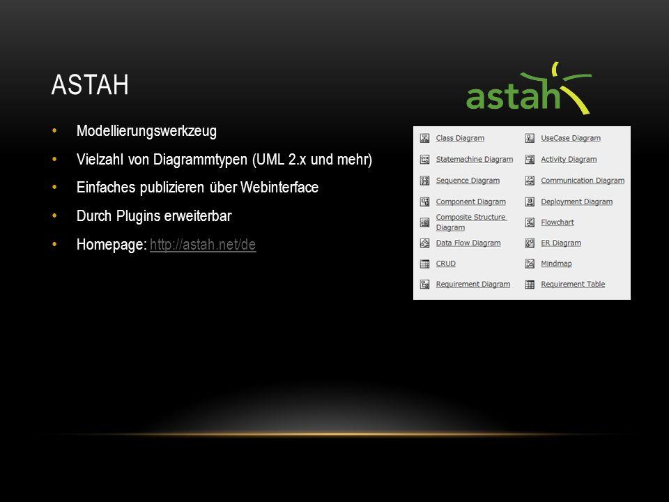 ANY Plugin für Astah für Code Generierung Grundlage das mit Astah designte Modell Zusätzliches Input: Template (bestehend aus 2 groovy-Dateien) Zusätzliche built-ins möglich Homepage http://anycode.labulle.in/index.html