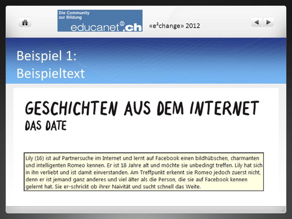 «e²change» 2012 Beispiel 1: Beispieltext