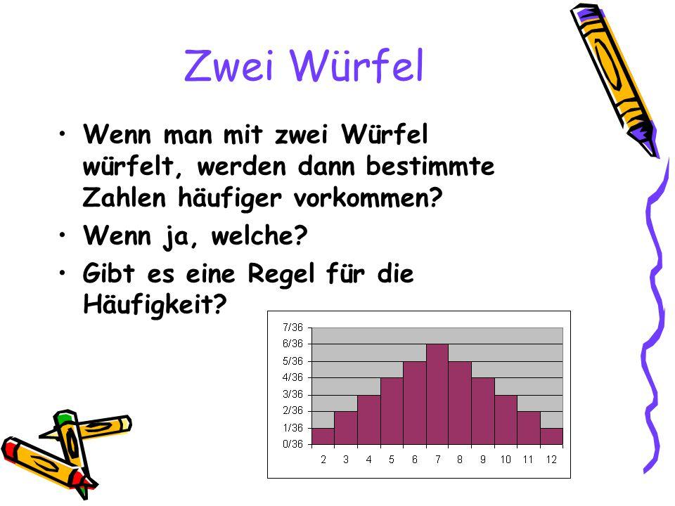 Zwei Würfel Wenn man mit zwei Würfel würfelt, werden dann bestimmte Zahlen häufiger vorkommen? Wenn ja, welche? Gibt es eine Regel für die Häufigkeit?