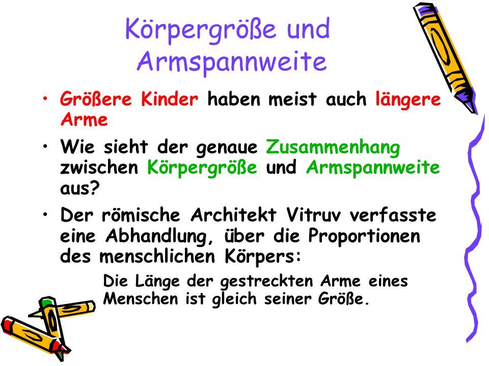 Körpergröße und Armspannweite Größere Kinder haben meist auch längere Arme Wie sieht der genaue Zusammenhang zwischen Körpergröße und Armspannweite au