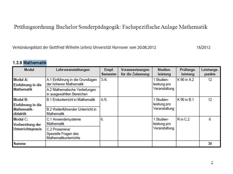2 Prüfungsordnung Bachelor Sonderpädagogik: Fachspezifische Anlage Mathematik