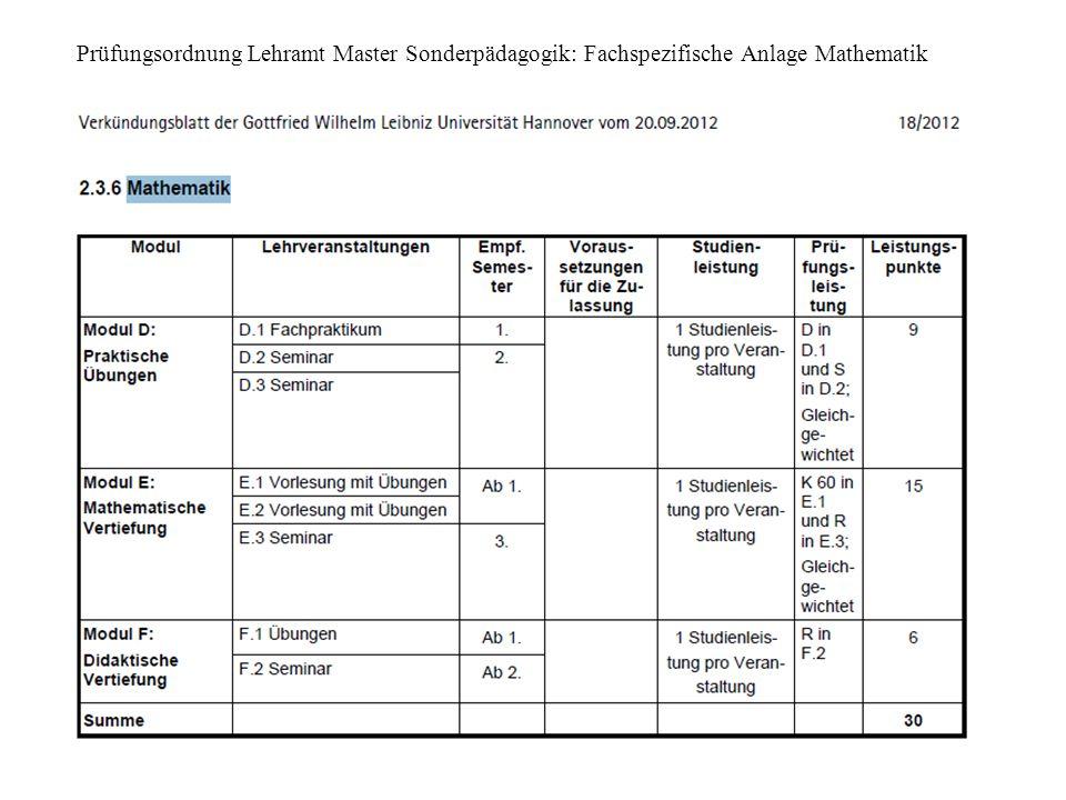 3 Prüfungsordnung Lehramt Master Sonderpädagogik: Fachspezifische Anlage Mathematik
