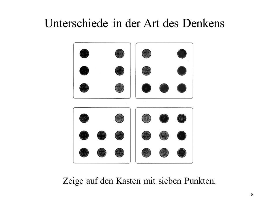 8 Zeige auf den Kasten mit sieben Punkten. Unterschiede in der Art des Denkens