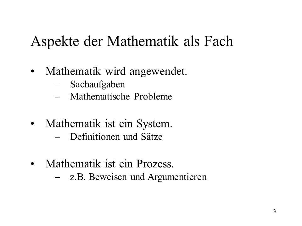 9 Aspekte der Mathematik als Fach Mathematik wird angewendet.