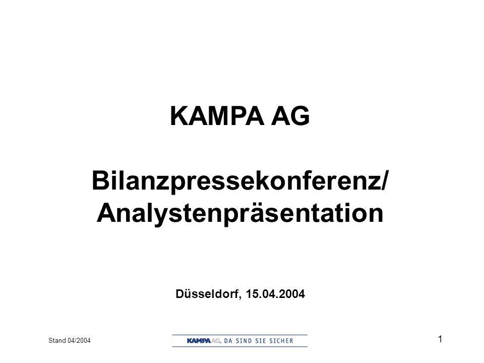 Stand 04/2004 12 Der Konzern in Zahlen (2003 vs. 2002)