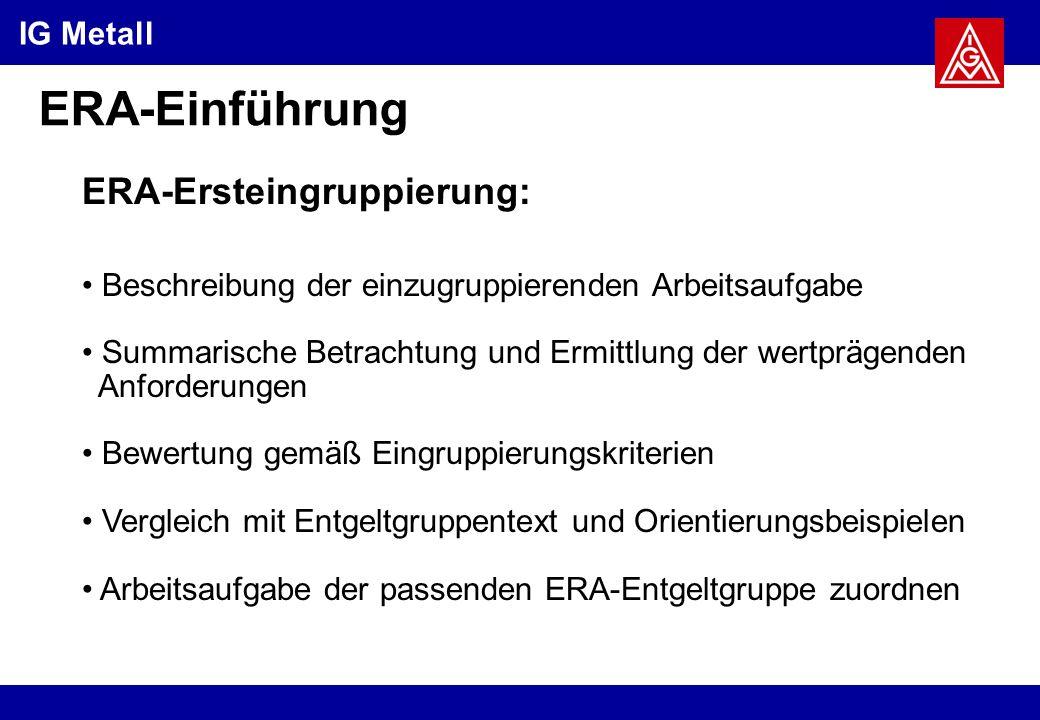 IG Metall ERA-Einführung ERA-Ersteingruppierung: Beschreibung der einzugruppierenden Arbeitsaufgabe Summarische Betrachtung und Ermittlung der wertprägenden Anforderungen Bewertung gemäß Eingruppierungskriterien Vergleich mit Entgeltgruppentext und Orientierungsbeispielen Arbeitsaufgabe der passenden ERA-Entgeltgruppe zuordnen