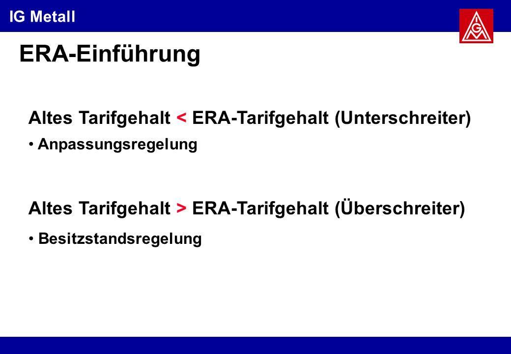 IG Metall ERA-Einführung Altes Tarifgehalt > ERA-Tarifgehalt (Überschreiter) Anpassungsregelung Besitzstandsregelung Altes Tarifgehalt < ERA-Tarifgehalt (Unterschreiter)