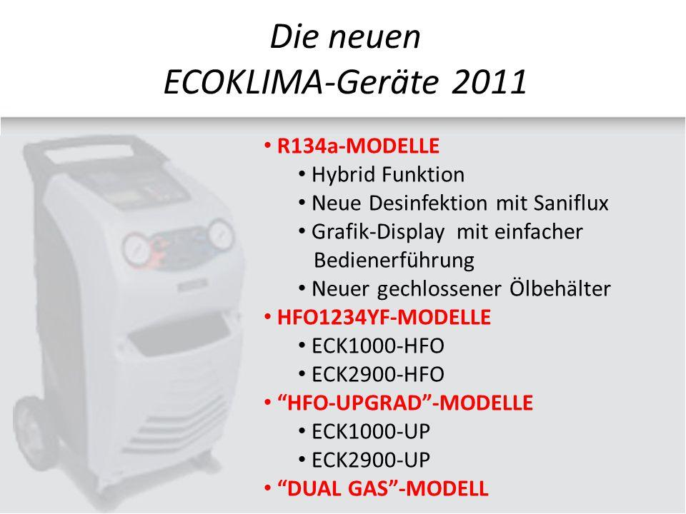 R134a-MODELLE Hybrid Funktion Neue Desinfektion mit Saniflux Grafik-Display mit einfacher Bedienerführung Neuer gechlossener Ölbehälter HFO1234YF-MODELLE ECK1000-HFO ECK2900-HFO HFO-UPGRAD -MODELLE ECK1000-UP ECK2900-UP DUAL GAS -MODELL Die neuen ECOKLIMA-Geräte 2011
