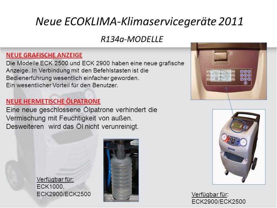 NEUE GRAFISCHE ANZEIGE Die Modelle ECK 2500 und ECK 2900 haben eine neue grafische Anzeige.