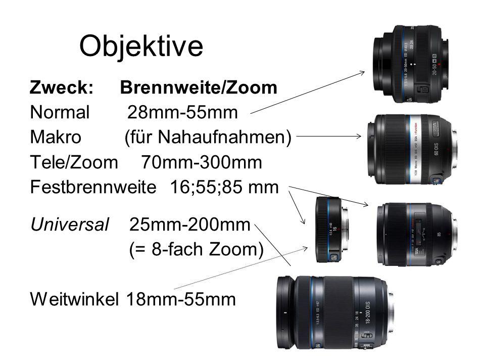 Objektive Zweck: Brennweite/Zoom Normal 28mm-55mm Makro (für Nahaufnahmen) Tele/Zoom 70mm-300mm Festbrennweite 16;55;85 mm Universal 25mm-200mm (= 8-f