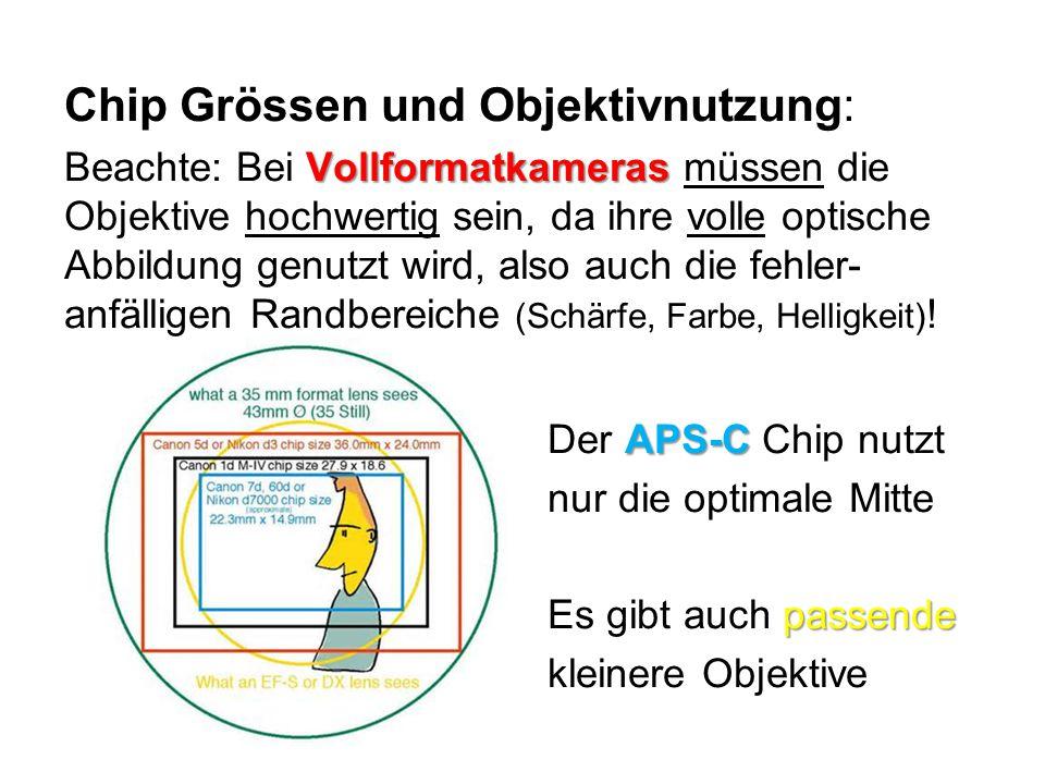 Chip Grössen und Objektivnutzung: Vollformatkameras Beachte: Bei Vollformatkameras müssen die Objektive hochwertig sein, da ihre volle optische Abbild