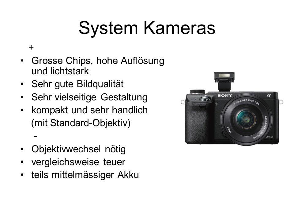 System Kameras + Grosse Chips, hohe Auflösung und lichtstark Sehr gute Bildqualität Sehr vielseitige Gestaltung kompakt und sehr handlich (mit Standar