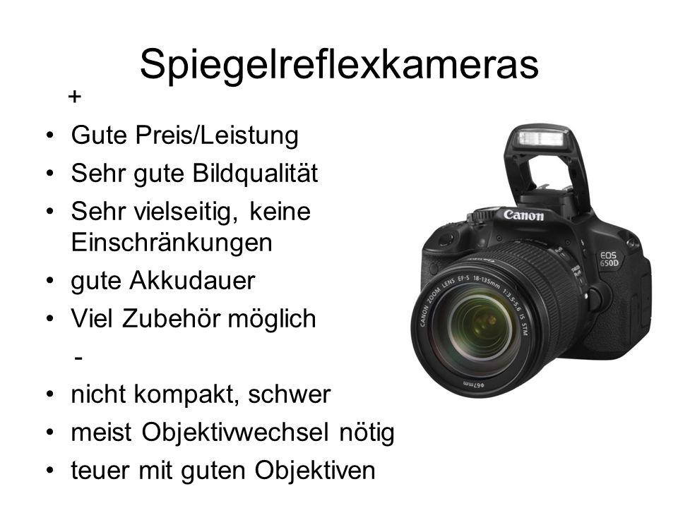 Spiegelreflexkameras + Gute Preis/Leistung Sehr gute Bildqualität Sehr vielseitig, keine Einschränkungen gute Akkudauer Viel Zubehör möglich - nicht k