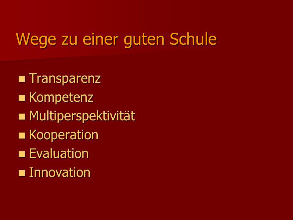 Wege zu einer guten Schule Transparenz Transparenz Kompetenz Kompetenz Multiperspektivität Multiperspektivität Kooperation Kooperation Evaluation Evaluation Innovation Innovation