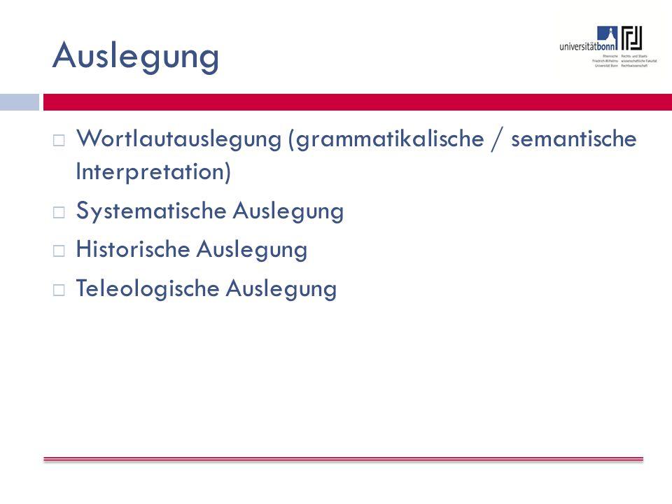 Auslegung  Wortlautauslegung (grammatikalische / semantische Interpretation)  Systematische Auslegung  Historische Auslegung  Teleologische Auslegung