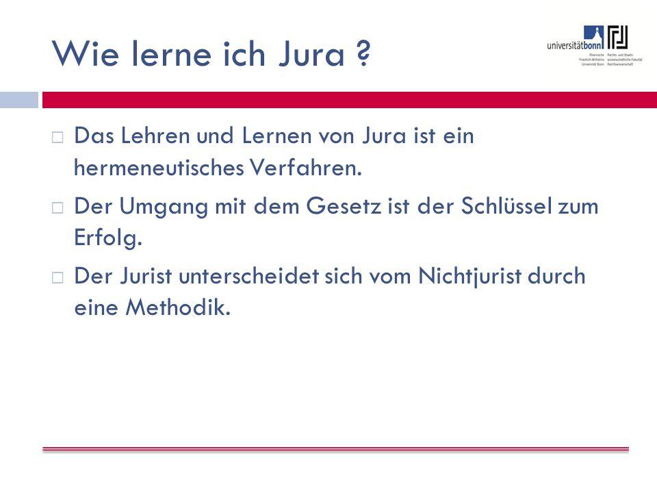 Wie lerne ich Jura . Das Lehren und Lernen von Jura ist ein hermeneutisches Verfahren.