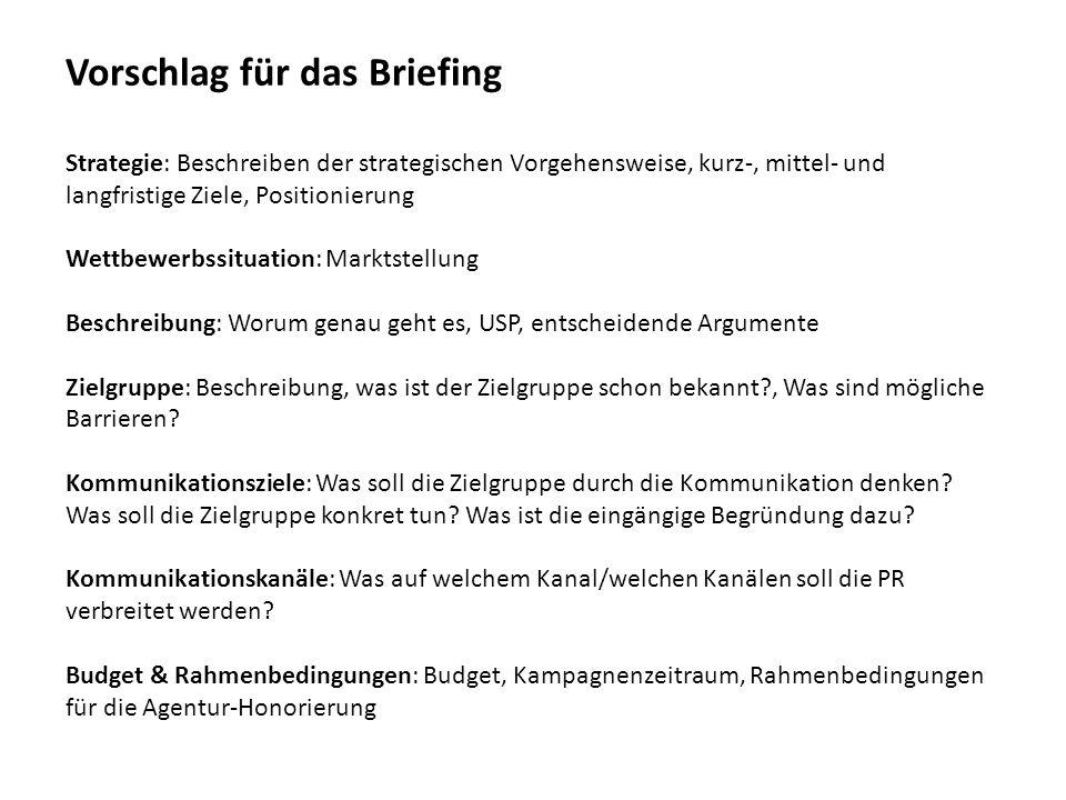 Vorschlag für das Briefing Strategie: Beschreiben der strategischen Vorgehensweise, kurz-, mittel- und langfristige Ziele, Positionierung Wettbewerbss