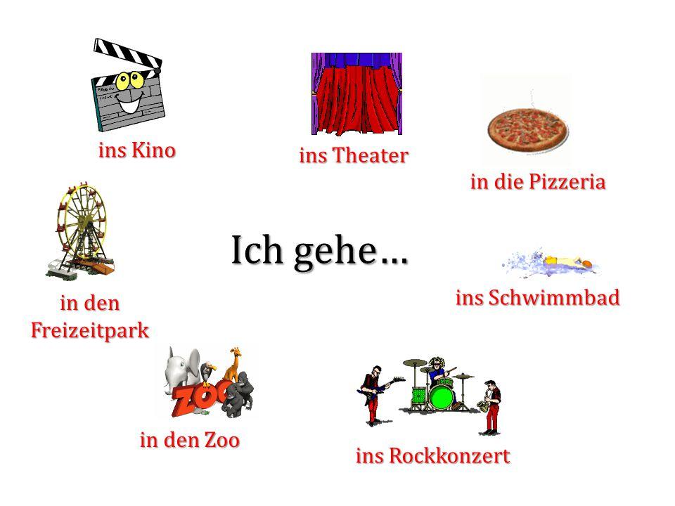 Ich gehe… ins Kino ins Theater in die Pizzeria in den Freizeitpark in den Zoo ins Schwimmbad ins Rockkonzert Kommst du mit ?