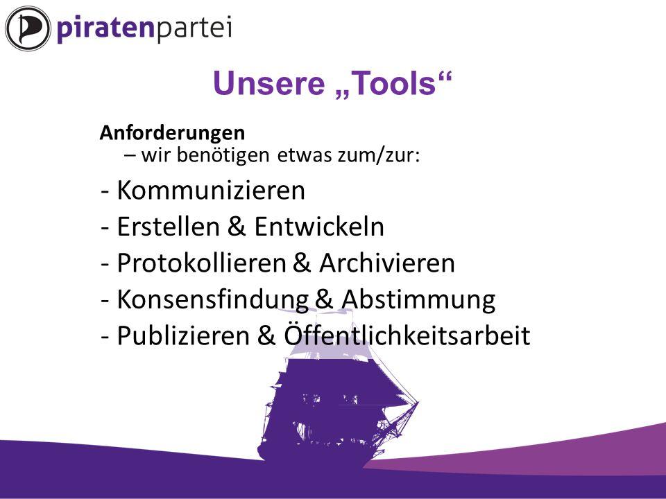 """Unsere """"Tools Anforderungen – wir benötigen etwas zum/zur: - Kommunizieren - Erstellen & Entwickeln - Protokollieren & Archivieren - Konsensfindung & Abstimmung - Publizieren & Öffentlichkeitsarbeit"""