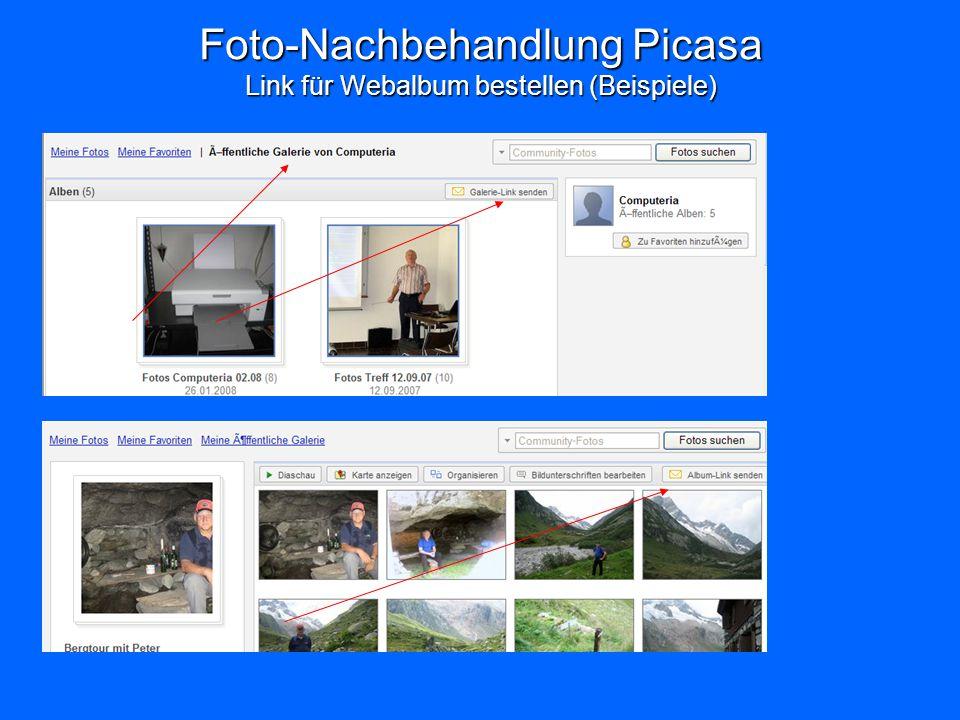 Foto-Nachbehandlung Picasa Link für Webalbum bestellen (Beispiele)