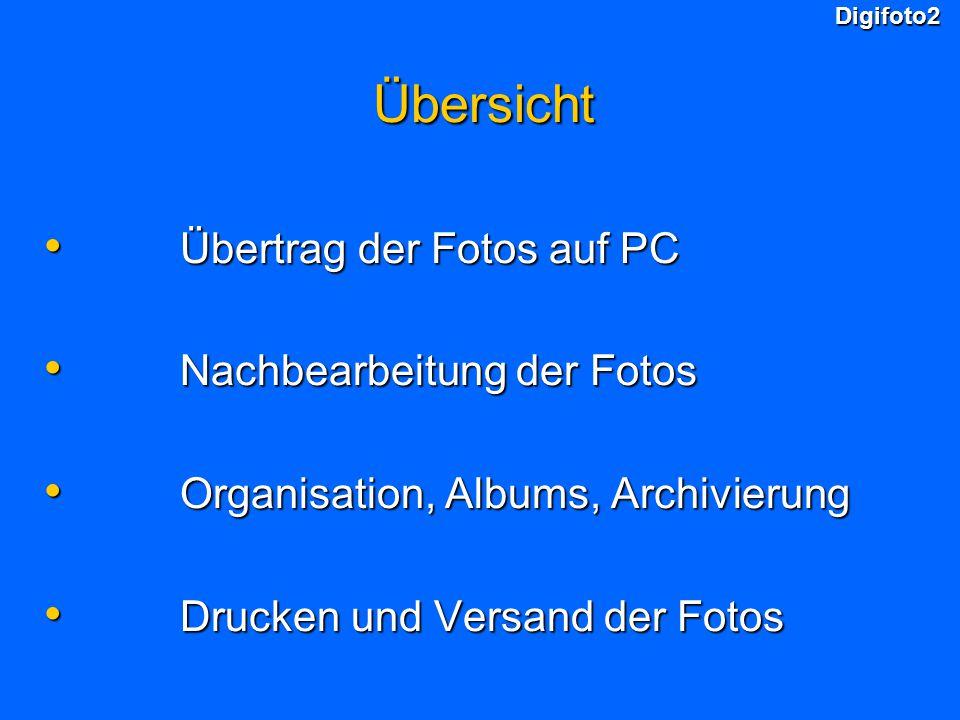 Digifoto2Übersicht Übertrag der Fotos auf PC Übertrag der Fotos auf PC Nachbearbeitung der Fotos Nachbearbeitung der Fotos Organisation, Albums, Archi