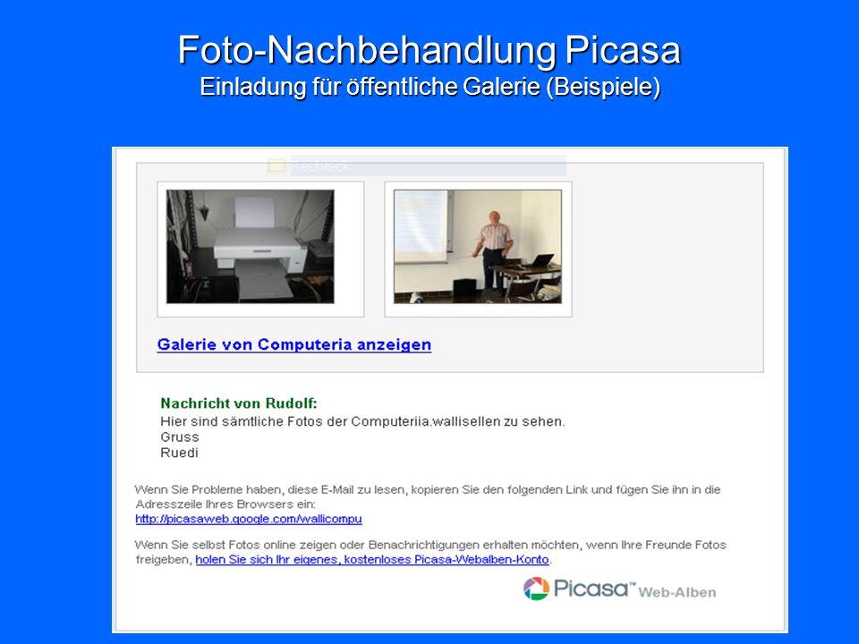 Foto-Nachbehandlung Picasa Einladung für öffentliche Galerie (Beispiele)