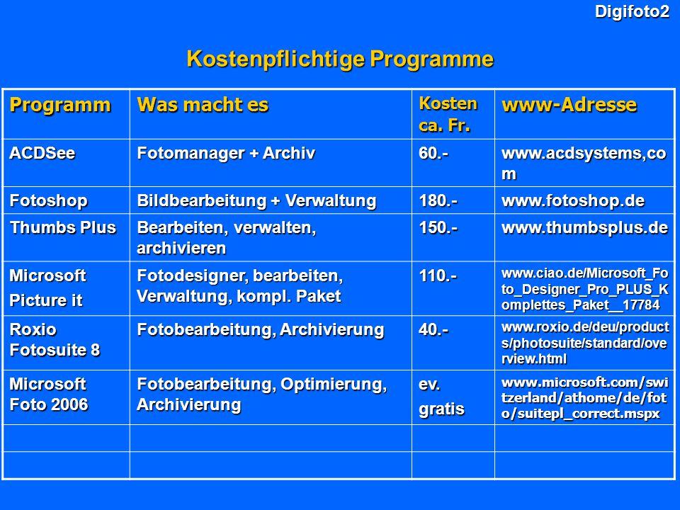 Digifoto2 Kostenpflichtige Programme Programm Was macht es Kosten ca. Fr. www-Adresse ACDSee Fotomanager + Archiv 60.- www.acdsystems,co m Fotoshop Bi