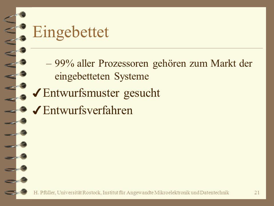 H. Pfüller, Universität Rostock, Institut für Angewandte Mikroelektronik und Datentechnik21 Eingebettet –99% aller Prozessoren gehören zum Markt der e