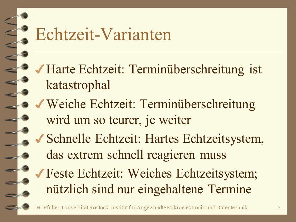H. Pfüller, Universität Rostock, Institut für Angewandte Mikroelektronik und Datentechnik5 Echtzeit-Varianten 4 Harte Echtzeit: Terminüberschreitung i