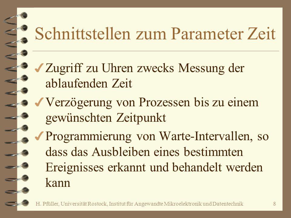 H. Pfüller, Universität Rostock, Institut für Angewandte Mikroelektronik und Datentechnik8 Schnittstellen zum Parameter Zeit 4 Zugriff zu Uhren zwecks