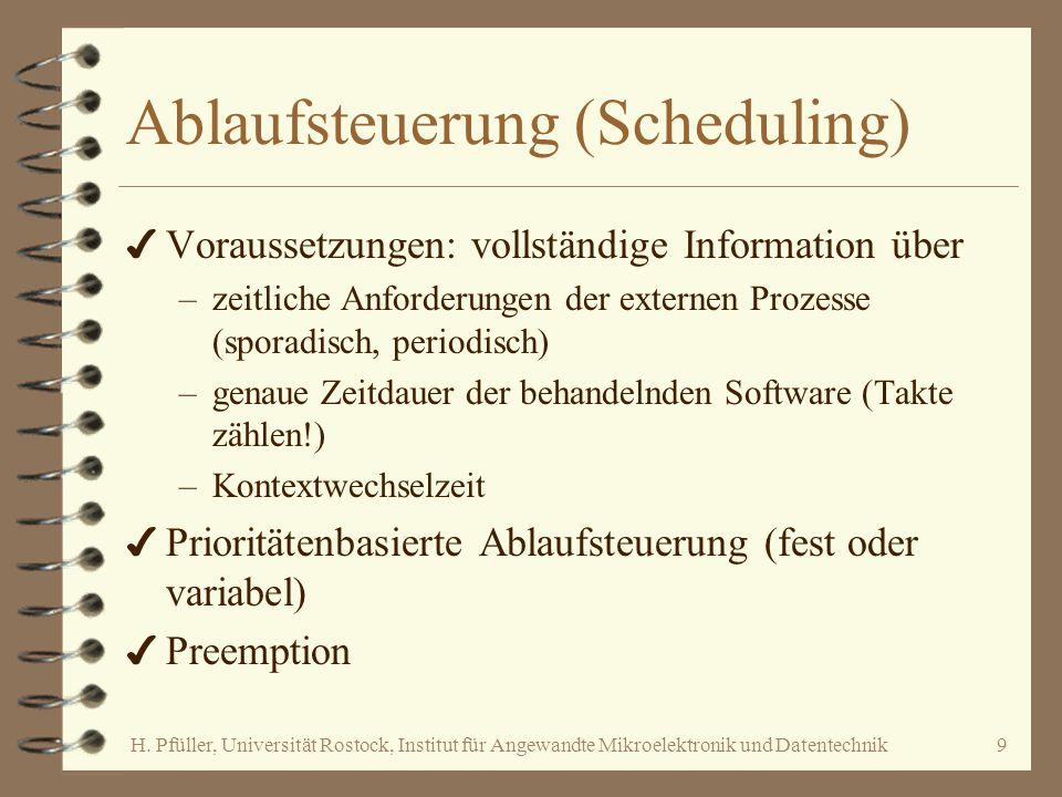 H. Pfüller, Universität Rostock, Institut für Angewandte Mikroelektronik und Datentechnik9 Ablaufsteuerung (Scheduling) 4 Voraussetzungen: vollständig