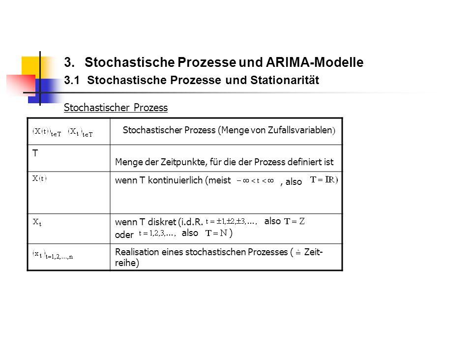 3. Stochastische Prozesse und ARIMA-Modelle 3.1 Stochastische Prozesse und Stationarität Stochastischer Prozess T Menge der Zeitpunkte, für die der Pr