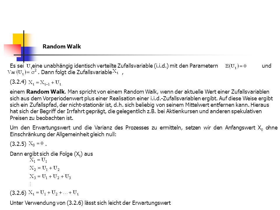 Random Walk Es sei eine unabhängig identisch verteilte Zufallsvariable (i.i.d.) mit den Parametern und. Dann folgt die Zufallsvariable, (3.2.4) einem