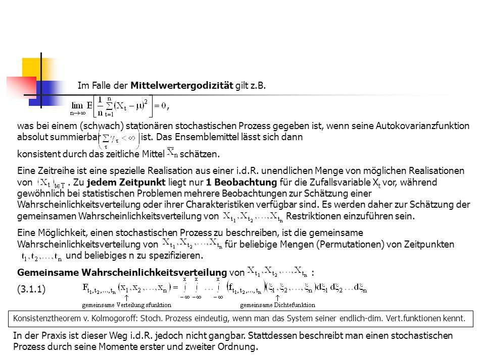 Momente eines stochastischen Prozesses (Momente erster und zweiter Ordnung): Mittelwertfunktion  t : (-folge) (3.1.2) Varianzfunktion : (-folge) (3.1.3) Autokovarianzfunktion : (ACVF)(-folge) (3.1.4) Für die Autokorrelationsfunktion (ACF) folgt dann (-folge) (3.1.5) Interpretation:  Die Mittelwertfolge gibt die durchschnittliche Zeitfolge an, um die die Realisierungen des Prozesses schwanken.