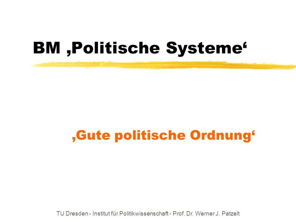 TU Dresden - Institut für Politikwissenschaft - Prof. Dr. Werner J. Patzelt BM 'Politische Systeme' 'Gute politische Ordnung'