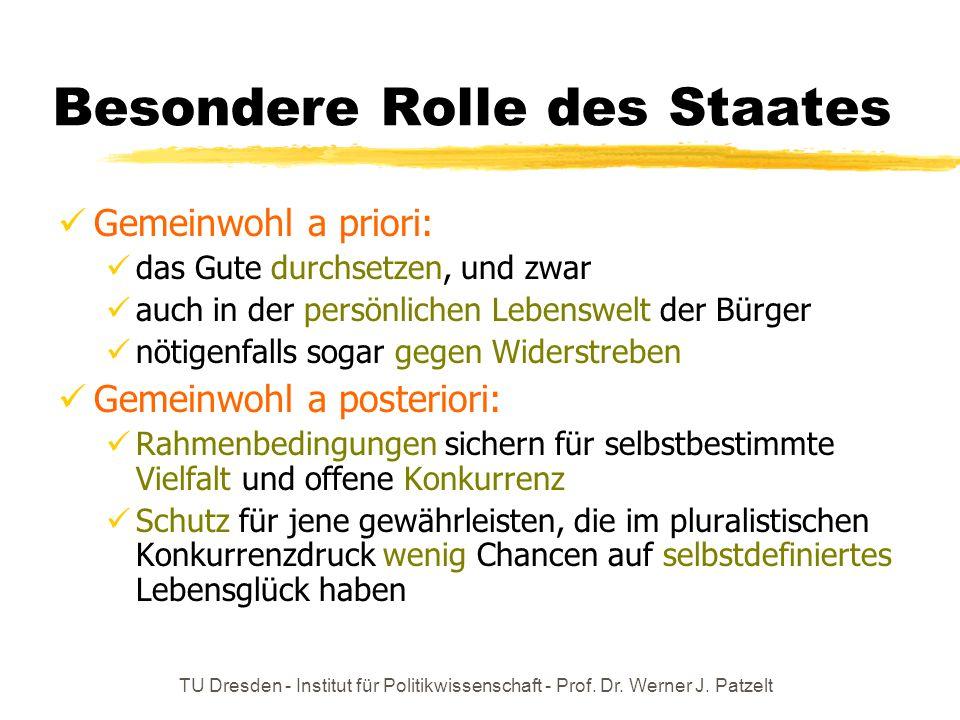 TU Dresden - Institut für Politikwissenschaft - Prof. Dr. Werner J. Patzelt Besondere Rolle des Staates Gemeinwohl a priori: das Gute durchsetzen, und
