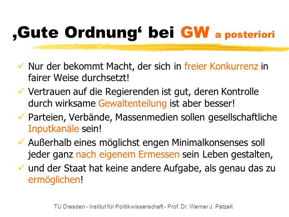 TU Dresden - Institut für Politikwissenschaft - Prof. Dr. Werner J. Patzelt 'Gute Ordnung' bei GW a posteriori Nur der bekommt Macht, der sich in frei