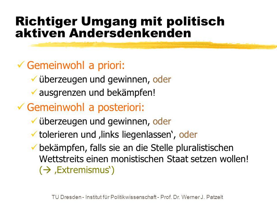 TU Dresden - Institut für Politikwissenschaft - Prof. Dr. Werner J. Patzelt Richtiger Umgang mit politisch aktiven Andersdenkenden Gemeinwohl a priori