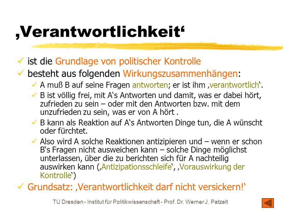 TU Dresden - Institut für Politikwissenschaft - Prof. Dr. Werner J. Patzelt 'Verantwortlichkeit' ist die Grundlage von politischer Kontrolle besteht a